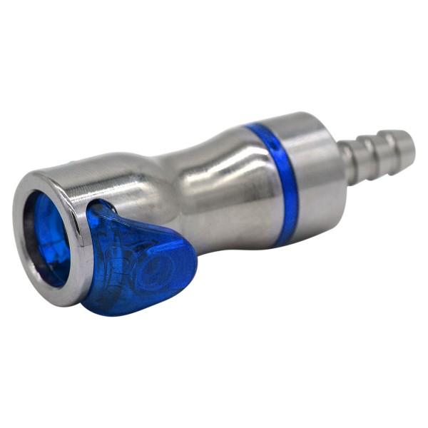 Schnellverschluss CPC-LQ4 Kupplung auf 6,35 mm (ID) - Messing, Absperrend, Blau