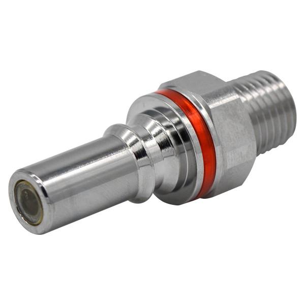 Schnellverschluss CPC-LQ4 Stecknippel auf 1/4 Zoll - Messing, Absperrend, Rot
