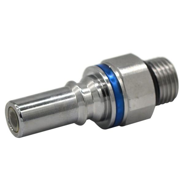 Schnellverschluss CPC-LQ4 Stecknippel auf 3/8 Zoll (SAE-6) - Messing, Absperrend, Blau