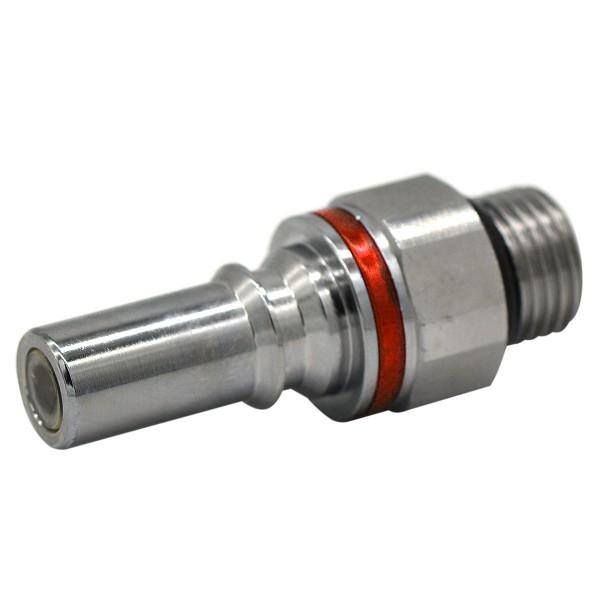 Schnellverschluss CPC-LQ4 Stecknippel auf 3/8 Zoll (SAE-6) - Messing, Absperrend, Rot