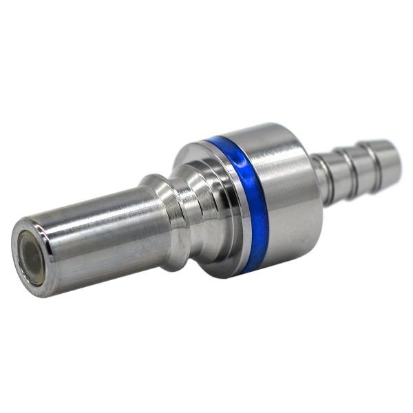 Schnellverschluss CPC-LQ4 Stecknippel auf 6,35 mm (ID) - Messing, Absperrend, Blau